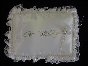 White Ring Pillows  Double Lace w/ Gold Chord Around Our Wedding. Ring Pillow.