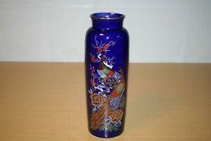 Interpur Cobalt Blue Peacock & Flowers Cylindrical Vase Japan