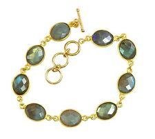 Labradorite Bracelet 14k Gold Filled 7 8 Inch Adjustable Bezel Chain Blue Oval