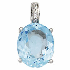 NEU 585er Diamanten Anhänger Blautopas hellblau echt Gold Weißgold 14 Karat