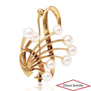 Mikimoto Pearl 14K Gold Floral Brooch Pin 6.8 Grams NR