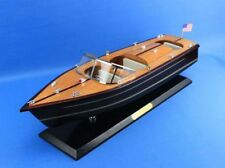 "Wooden Chris Craft Triple Cockpit Model Speedboat 20"" Fully Assembled Speed boat"