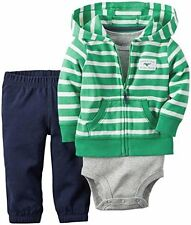 Carter's 3-Piece Striped Cardigan Set, Gray/Green, Newborn