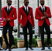 Fashion Red Paisley Men's Suit 2 pieces Tuxedos Jacquard British style Custom