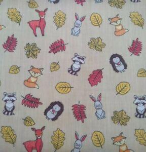 WOODLAND ANIMALS, KIDS, NURSERY,cotton mix fabric sold/PER METRE/