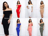 New Womens Glam Off Shoulder Knee Length Midi Bodycon Celeb Party Cocktail Dress