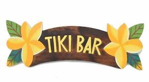 Schild 50cm Tiki Bar Holzschild mit Frangipani Blüten Blumen Hawaii Mauii
