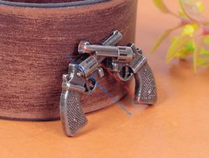 10pcs Antique Nickel Western Cowboy Cross Pistol LeatherCraft Belt Decor Conchos