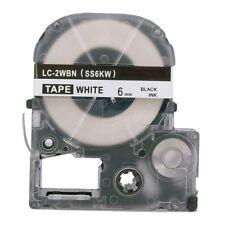 1 PK SS6KW 6mm Black on White Label Tape for Epson KingJim LW300 LW400 LW700 8m