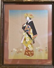 """ANTIQUE 19C JAPANESE WATERCOLOR PAINTING ON SILK""""WOMAN IN KIMONO""""FRAMED W. GLASS"""