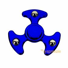 Blue Fidget Hand Spinner Toy Anxiety Stress Relief Focus EDC UFO Metallic ADHD