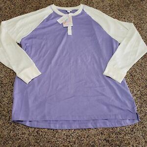 NWT NEW Lularoe Mark Button Shirt 3XL Long Sleeve Purple White