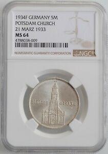 "Germany - Third Reich 5 reichsmark 1934 F, NGC MS64, ""Potsdam Garrison Church"""