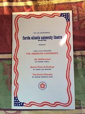 Florida Atlantic Univ. Theatre Bicentennial Program 3 Plays American Experience