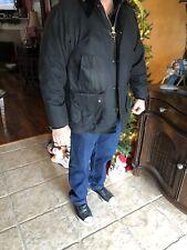 EUC $379 BARBOUR BEDALE Black Wax Cotton Jacket Waterproof Tartan Lined Coat