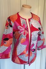 Reversible Quilted Jacket Abstract Floral / Hot Pink Solid Sz M?