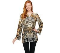 Attitudes by Renee Printed Jersey Knit Keyhole Tunic Top Natural Large Size QVC
