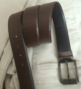 """Mens Real Leather REVERSIBLE and ADJUSTABLE BELT 1.25"""" Carbon Fibre Saffiano New"""