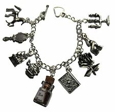 Disney's Beauty and The Beast Silvertone Metal Charm Bracelet