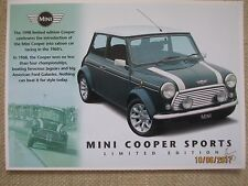 Rover Classic Mini Cooper Sport Limited Edition 1998 UK Market Postcard Brochure