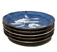 "Set of 5 Unique Asian Blue 6"" Bread & Butter Plates Pomegranate Design - Signed"