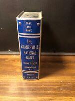 Vintage Branchville National Bank METAL COIN BOOK BANK no key-Standard Thrift Co