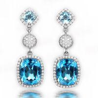 Natural Diamond Cushion Blue Topaz Dangle Charm Earrings Solid 14K White Gold