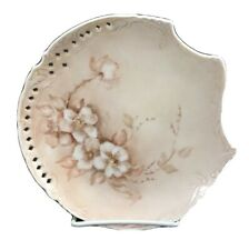 Antique hand painted victorian plate decorative porcelain beige white signed
