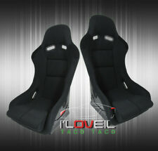Low Max Style Jdm Full Bucket Racing Automotive Car Seats With Sliders Black Cloth Fits Seat