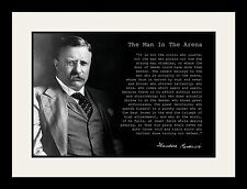 Theodore Teddy Roosevelt the Man in the Arena Quote 19x25 Matted Framed Poster