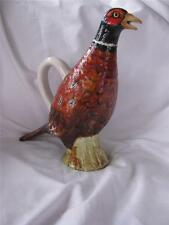 "Neat Pheasant Wildlife Bird Ceramic Pitcher made in Italy - 11"" tall glass eyes!"