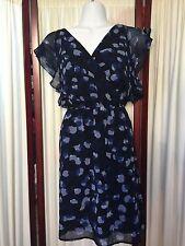 Armani Exchange Blue Black Rufle Dress Sz 2 EUC