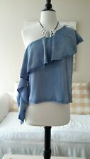 Beautiful One Shoulder Chambray Top By Do & Be, Size Medium ,NWT