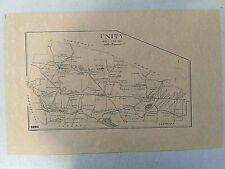 Reproduction 1892 Map- Unity New Hampshire-Sullivan County-Man Cave-Cabin Decor