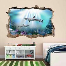 Tiburones Mar Océano Niños bajo el agua Habitación Pared Adhesivo Mural Papel Pintado Poster BH17