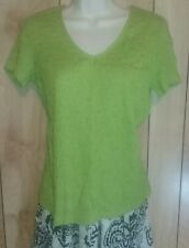 Jacyln Smith womens size S green v neck crinkle shirt top