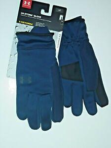 * Men's Under Armour UA ColdGear Storm Fleece Tech Gloves Navy Blue Size Large L