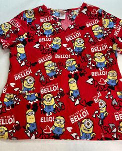 Despicable Me Minion Medical Scrub Top Sz XL Red 100% Cotton Nurse  Pockets