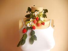 Strawberry Crochet Scarf-Lariat Scarf -Lariat Necklace-winter accessory-Jewelry