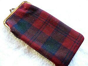 Vintage Snap Shut Eyeglass Soft Fabric Case Black & Red Classic Plaid