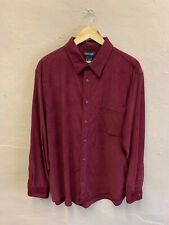 VINTAGE MEN'S CORD SHIRT SIZE XL PLAIN DARK RED BAGGY 90s by CHEROKEE (f125)