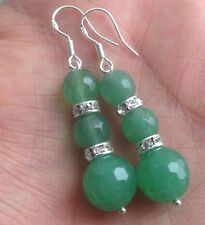 8-10mm Natural Faceted Green Emerald Gemstones Silver Hook Dangle Earrings AAA