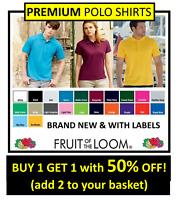 PREMIUM Men's Ladies Women's Plain Fruit of the Loom Polo T-Shirt Original Shirt