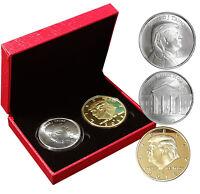 2018 President Donald Trump 1oz .999 fine silver + 1oz Gold Plated Coin COA Box