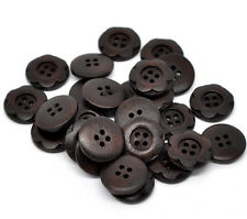 6 Dark Mahogany Wooden Buttons Flower design 20mm Sewing Free UK P&P