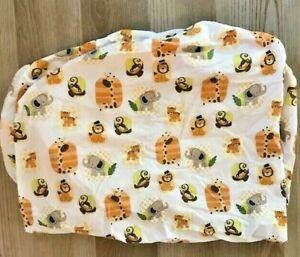 Lambs & Ivy Safari Crib Fitted Sheet Elephant Giraffe Lion Monkey Tiger Cotton