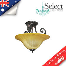 UMBRIA, Semi flush, 3 Light CTC Oyster, Tuscan Bronze, Amber Glass ON SALE!