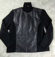 Coldwater Creek Leather Wool Blend Sweater Jacket Womens PETITE  Black Zip
