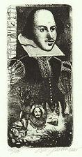 Shakespeare EXLIBRIS Oleg dergatchov ohn teatro etching c3 SIGNED acquaforte