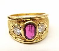 Vtg 18K Gold Ladies Diamond Natural Ruby Ring Sz 5.75 .42 TCW .78 Carat Heavy